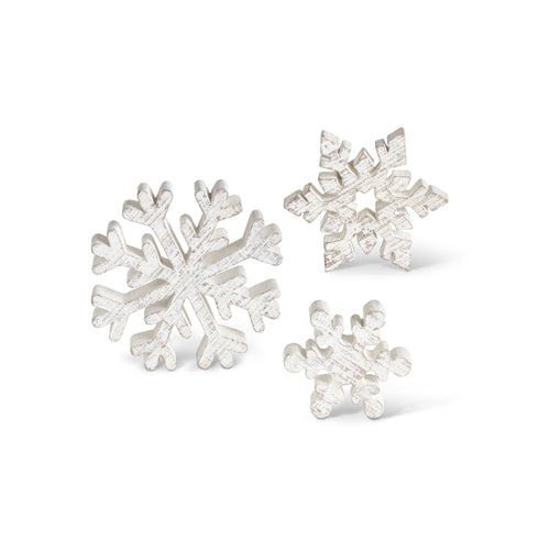 Whitewashed Small Wooden Snowflake Set