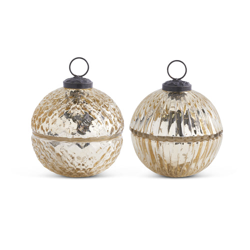 Gold Small Mercury Glass Ornament Candle Set