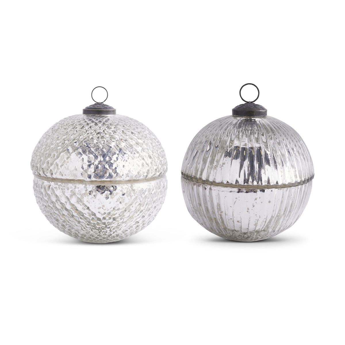 Silver Large Mercury Glass Ornament Candle Set