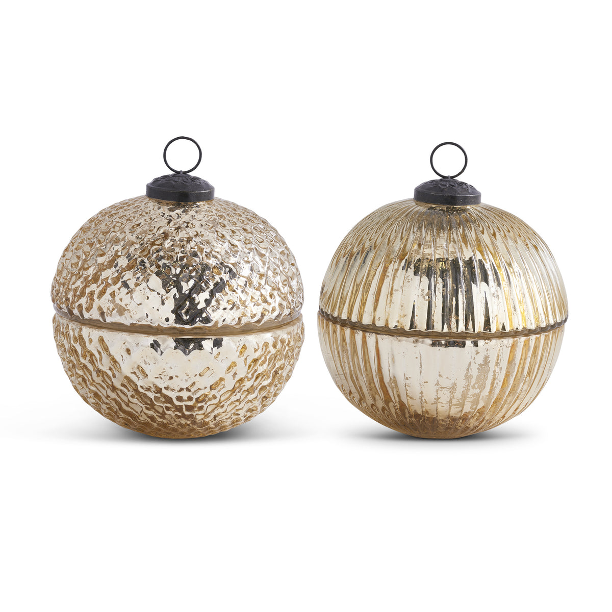 Gold Large Mercury Glass Ornament Candle Set