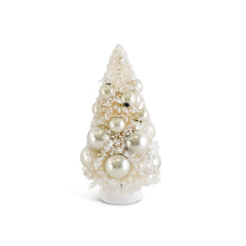 Cream Bottle Brush Tree with Champagne Ornament