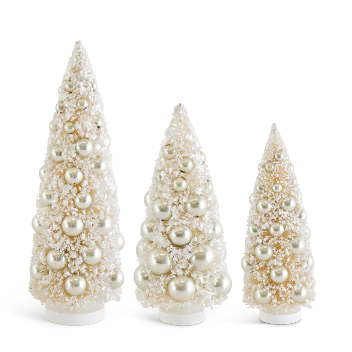 Cream Bottle Brush Trees with Champagne Ornament Set