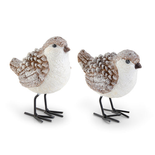 Brown & White Wood Grain Pinecone Birds
