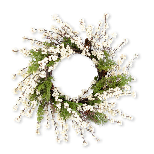 Juniper Wreath with White Berries