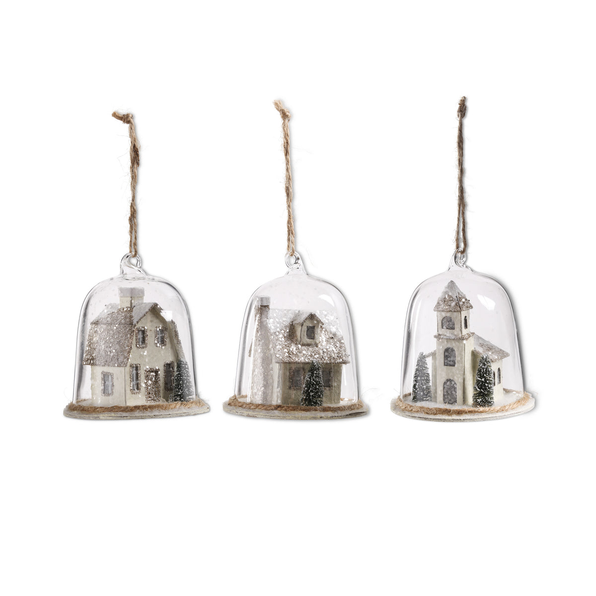 Glass Dome Ornaments with Houses Inside