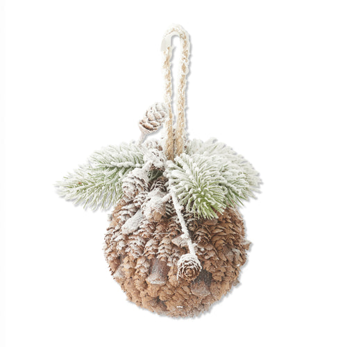Round Snowy Pine Needle Ball Ornament