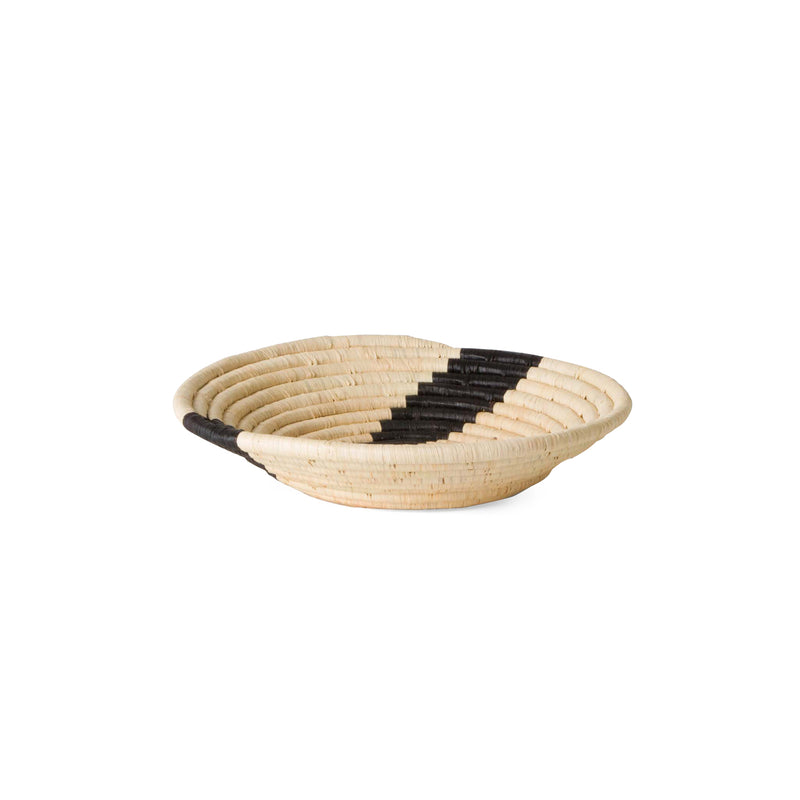 Medium Striped Black & Natural Round Bowl Basket