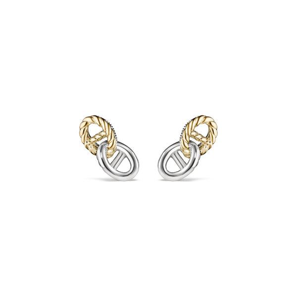 Vienna Double Link Stud Earrings with 18K Gold
