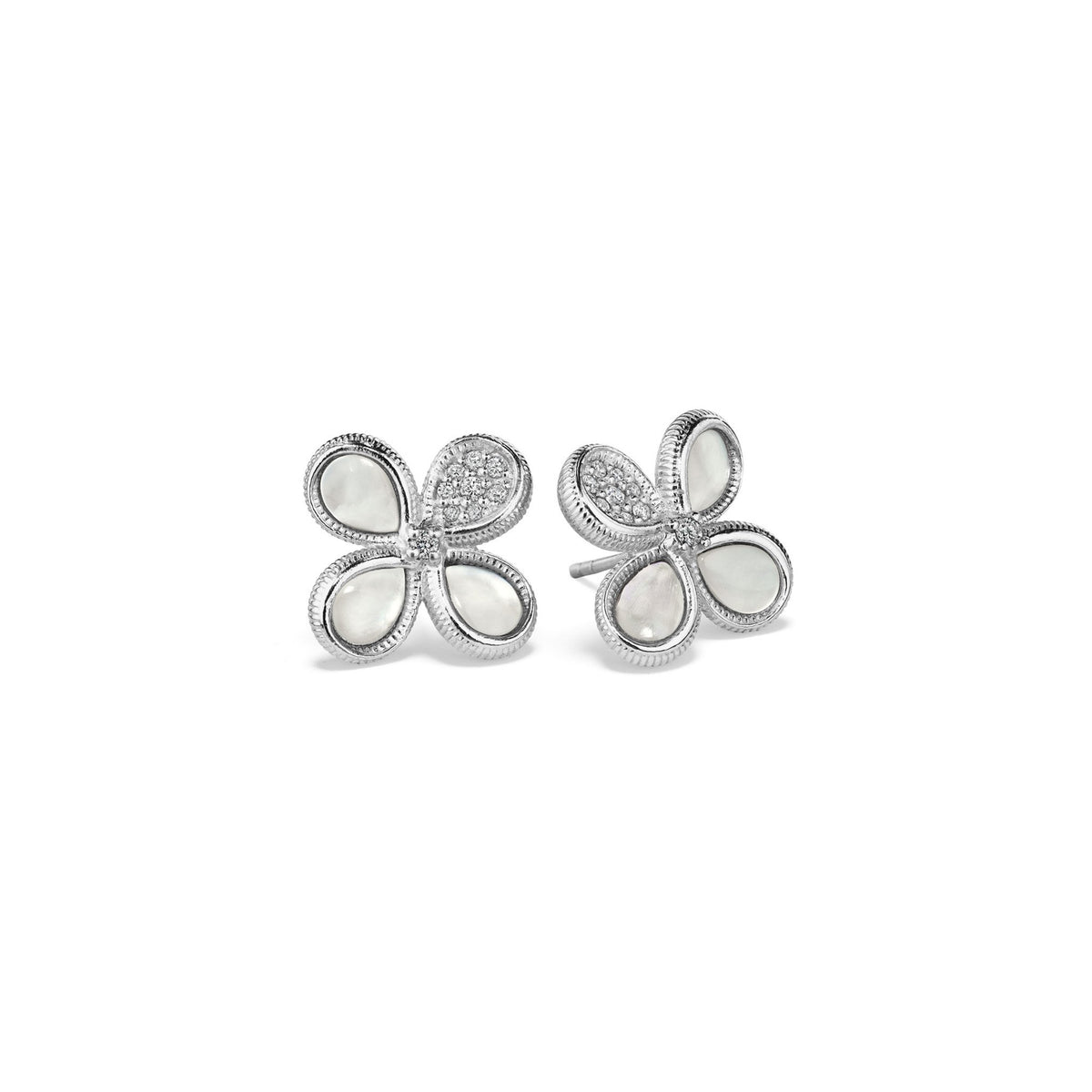 Jardin Stud Earrings with Mother of Pearl and Diamonds