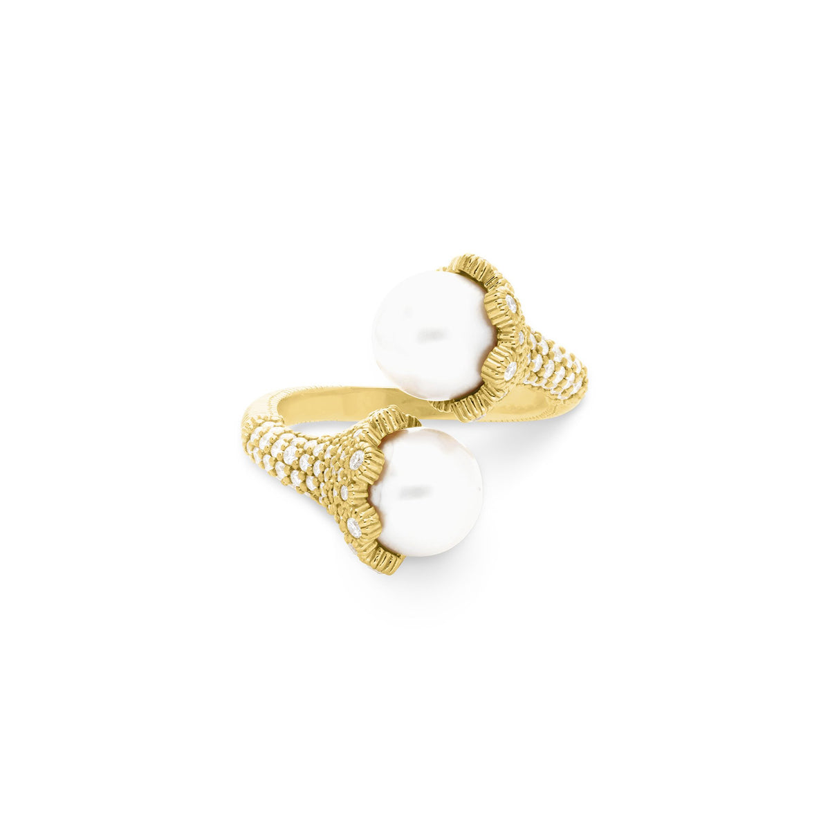 Paloma Bypass Ring with Freshwater Pearls and Diamonds in 18K
