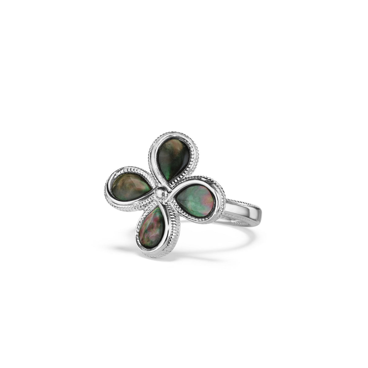 Jardin Flower Ring with Black Mother of Pearl