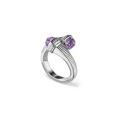 Cassandre Bypass Ring with Amethyst
