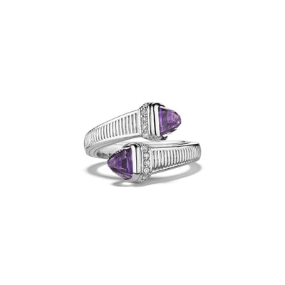 Cassandre Bypass Ring with Amethyst and Diamonds