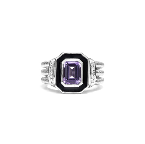 Adrienne Ring with Enamel, Amethyst and Diamonds