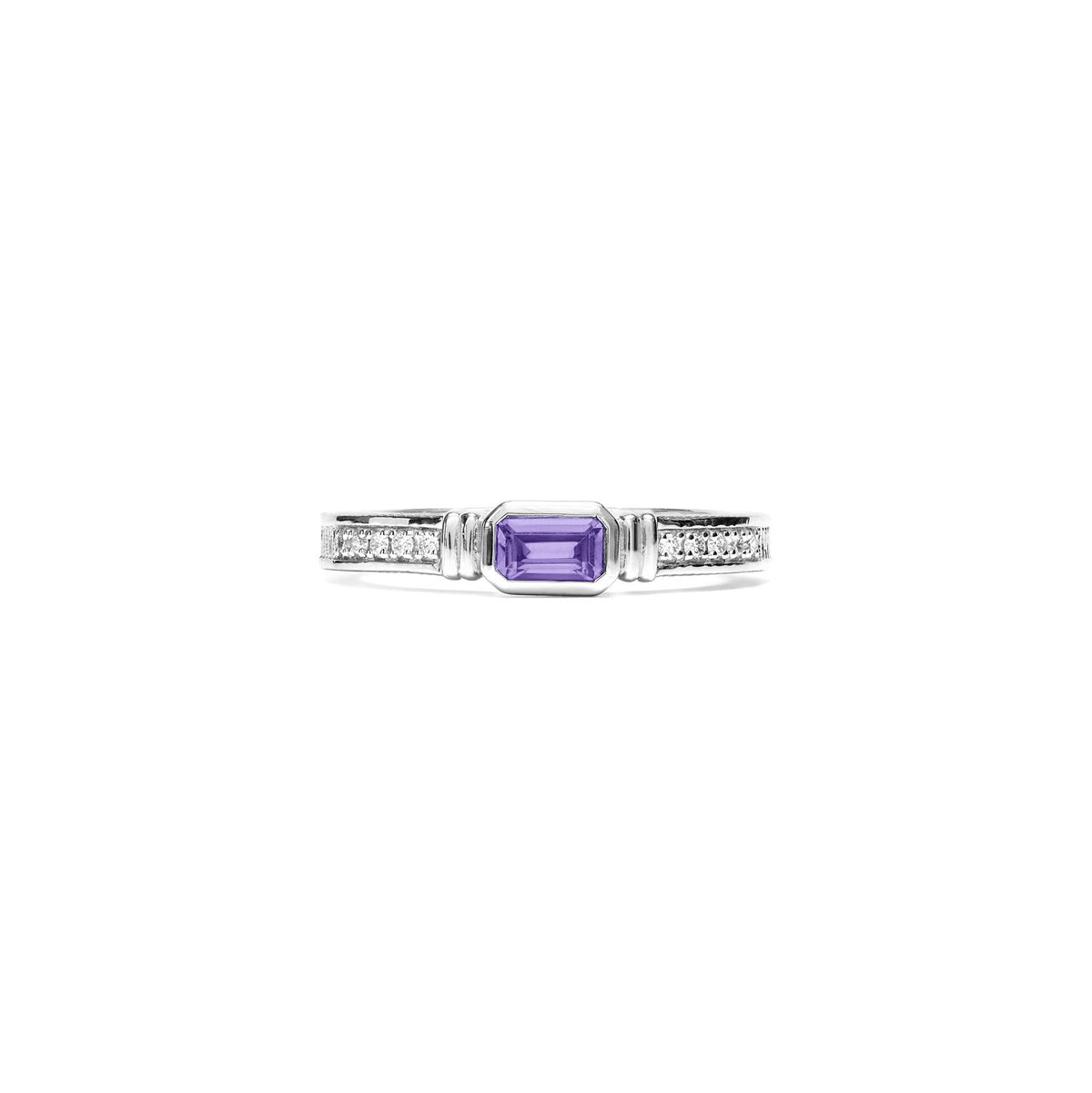 Adrienne Stack Ring with Amethyst and Diamonds