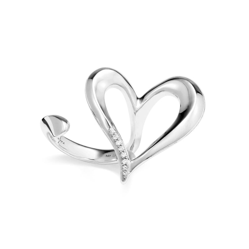Eros Open Heart Two-Finger Ring with Diamonds