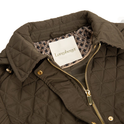 Olive Half Diamond Quilted Barn Jacket