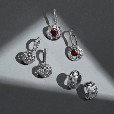Max Drop Earring with Garnet and Diamonds