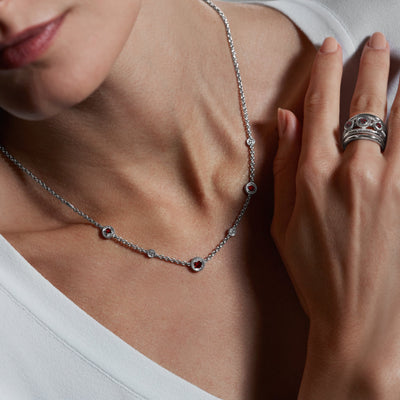 Max Station Necklace with Garnet and Diamonds