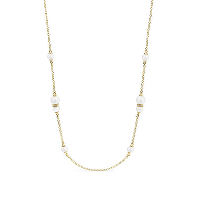 Shima Station Necklace with Freshwater Pearls and Diamonds in 18K