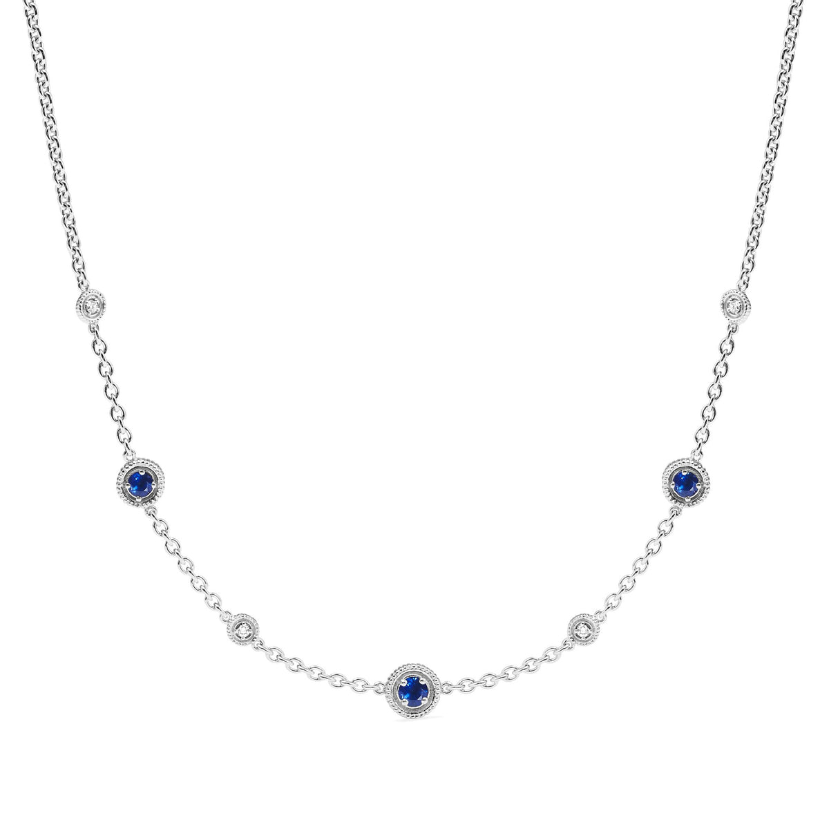 Max Station Necklace with Sapphire and Diamonds