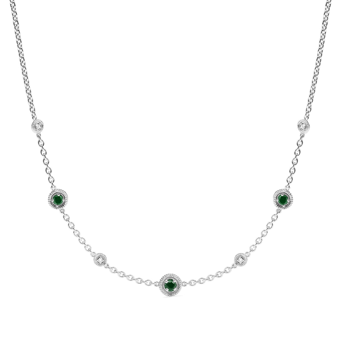 Max Station Necklace with Emerald and Diamonds