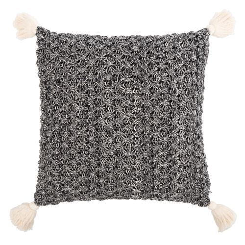 Black & Natural Pennie Knit Tassel Pillow