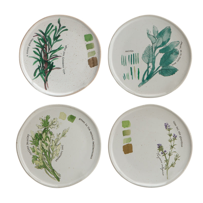 Farm to Table Stoneware Herb Plate Set