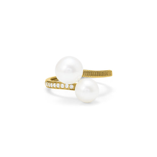 Shima Bypass Ring with Freshwater Pearls and Diamonds in 18K