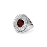 Max Oval Ring with Garnet and Diamonds