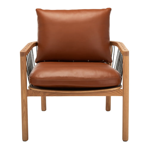 Caramel Mid-Century Leather Chair