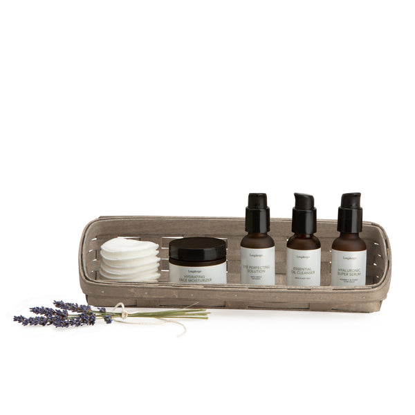 Pale Grey Large Skin Care Basket Set with Free Protector & Essential Skin Day Kit