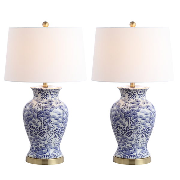 Blue & White Alona Table Lamp Set