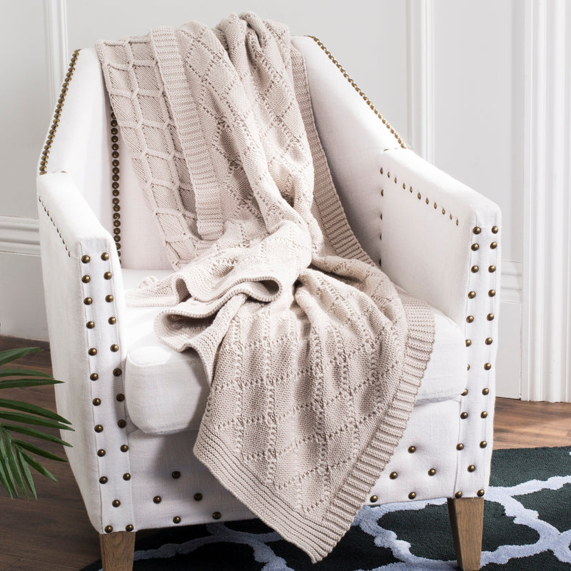 Pale Pink Petal Knit Throw