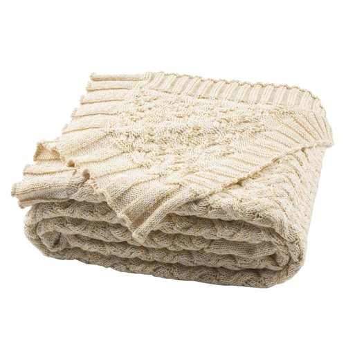 Natural & Gold Adara Knit Throw