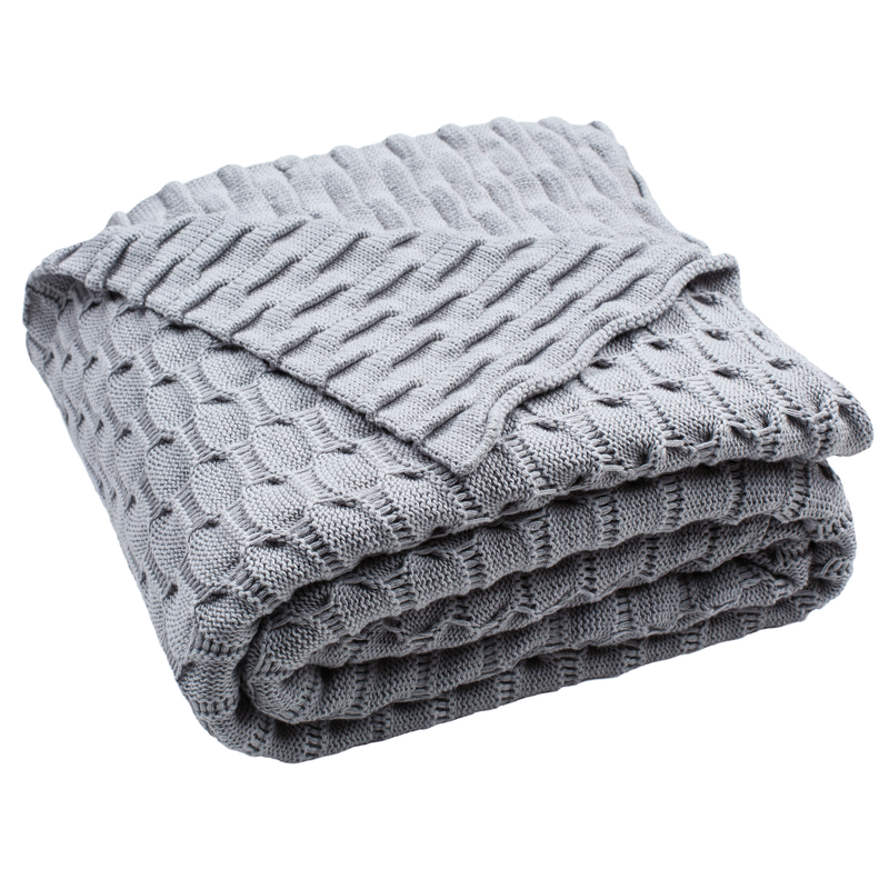 Light Grey Noela Knit Throw