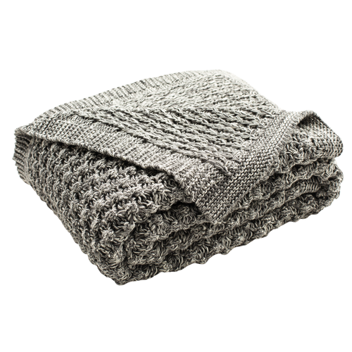Dark Grey & Nautral Janan Knit Throw