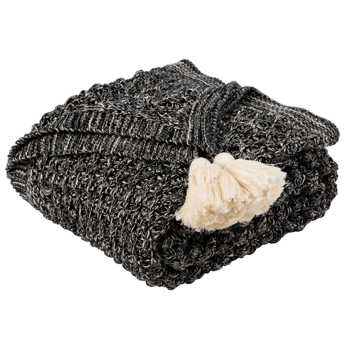 Black & Natural Pennie Knit Tassel Throw