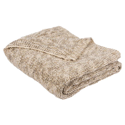 Light Grey, Natural & Gold Ralen Knit Throw