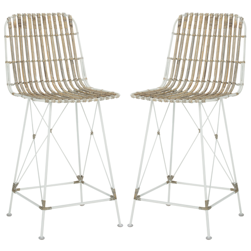 White Minerva Wicker Counter Stool Set