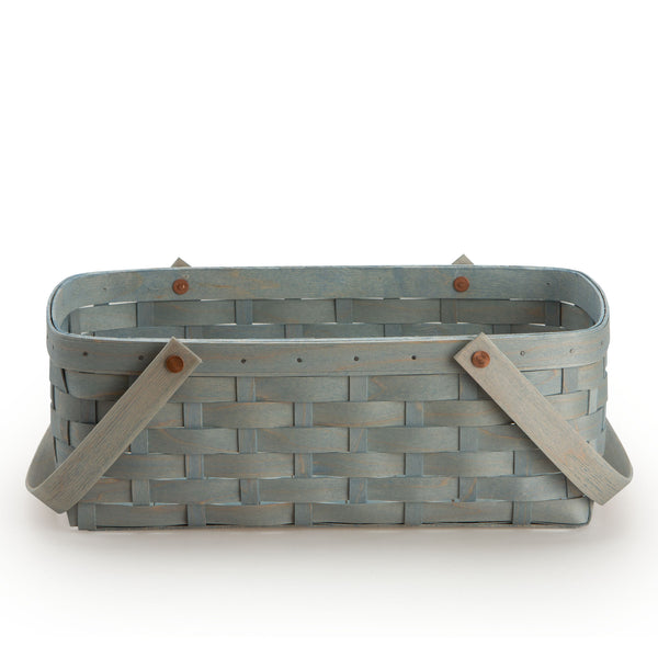 Light Blue Large Handled Rectangle Organizing Basket