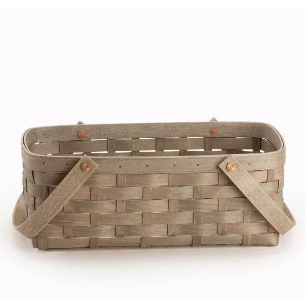 Light Grey Large Handled Rectangle Organizing Basket