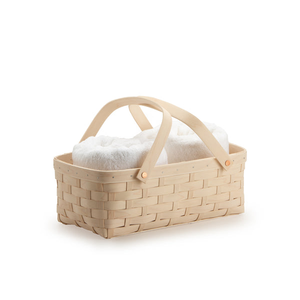 White Large Handled Rectangle Organizing Basket
