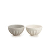 White & Light Grey Matte Stoneware Bowl Set