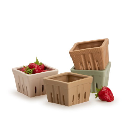 Beige, Terracotta, Light Pink & Light Green Stoneware Berry Basket Set