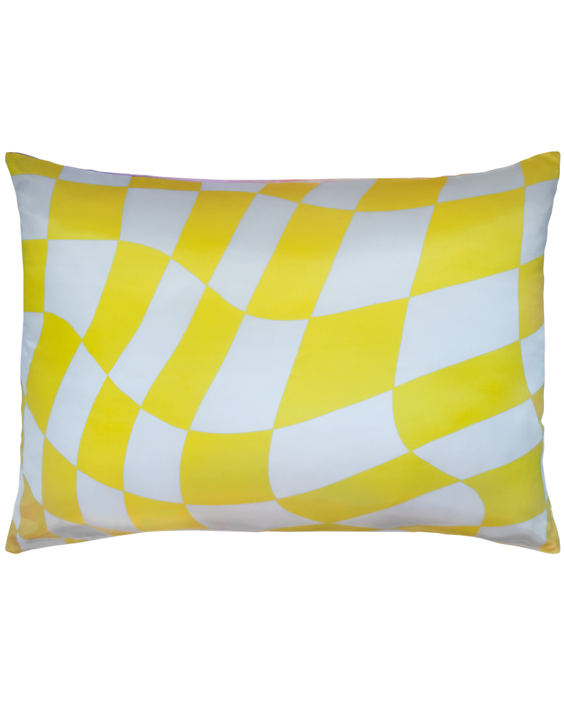 DOUBLE SIDED: YELLOW/PURPLE CHECKER & GRADIENT SATIN PILLOWCASE