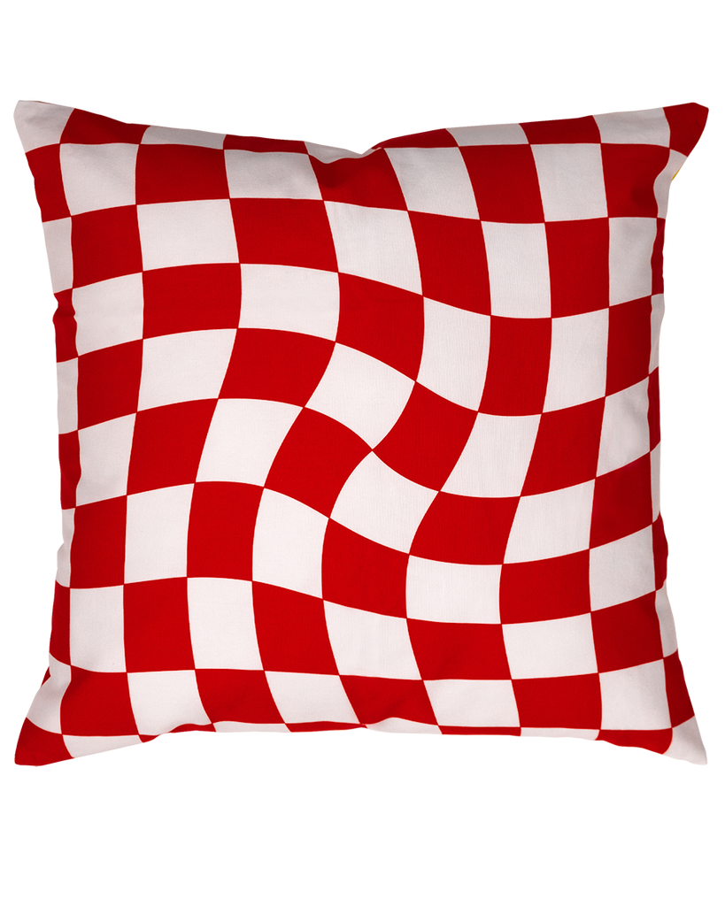 DOUBLE SIDED: SUNSET RED CHECKERBOARD CUSHION COVER