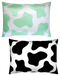 DOUBLE SIDED: BLACK/MINT GREEN COW PRINT PILLOWCASE