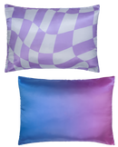 DOUBLE SIDED: PURPLE/BLUE CHECKER & GRADIENT SATIN PILLOWCASE