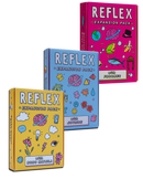 "3 decks of the ReFlex expansion pack. This is a conversation card game.The pink deck is ReFlex collaboration deck, the blue deck is a collaboration with Joyride, and the yellow deck is a collaboration with Bobo Matjila.The questions are made for you to ""dig deep"", get serious and really explore what you believe. And why you believe it."